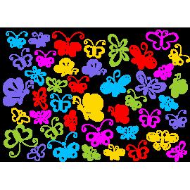 naklejki MOTYLE BAJKOWE zestaw 42 szt, 15 i 10 cm, 6 kolorów