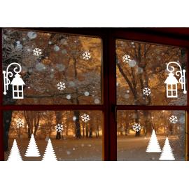naklejki zimowe ŚNIEZYNKI DRZEWKO LAMPION 17 szt wzór 6