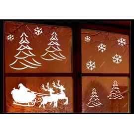 naklejki okno MIKOŁAJ NA SANIACH ŚNIEG DRZEWKA wk4