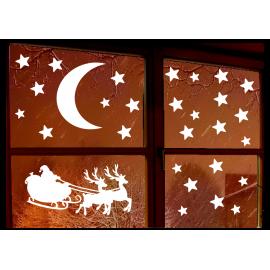 naklejki świąteczne MIKOŁAJ KSIĘŻYC GWIAZDY - 2 arkusze