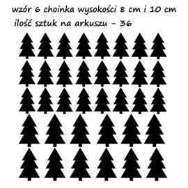 naklejki CHOINKI DRZEWKA 8 i 10 cm - 36 szt - wzory skandynawskie