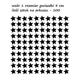 naklejki GWIAZDKI 4 cm - 100 szt - wzory skandynawskie