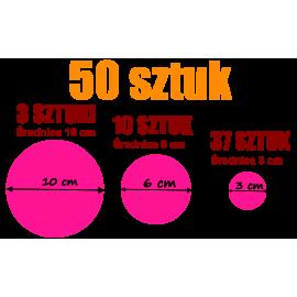naklejki GROCHY zestaw 50 szt, 10, 6 i 3 cm
