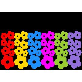 naklejki KWIATKI 6 KOLORÓW zestaw 42 szt, od 4,5 do 10 cm
