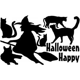 naklejki WIEDŹMA KOTY zestaw Halloween - arkusz 28x45cm