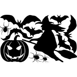 naklejki WIEDŹMA DYNIA PAJĄKI NIETOPERZE zestaw Halloween